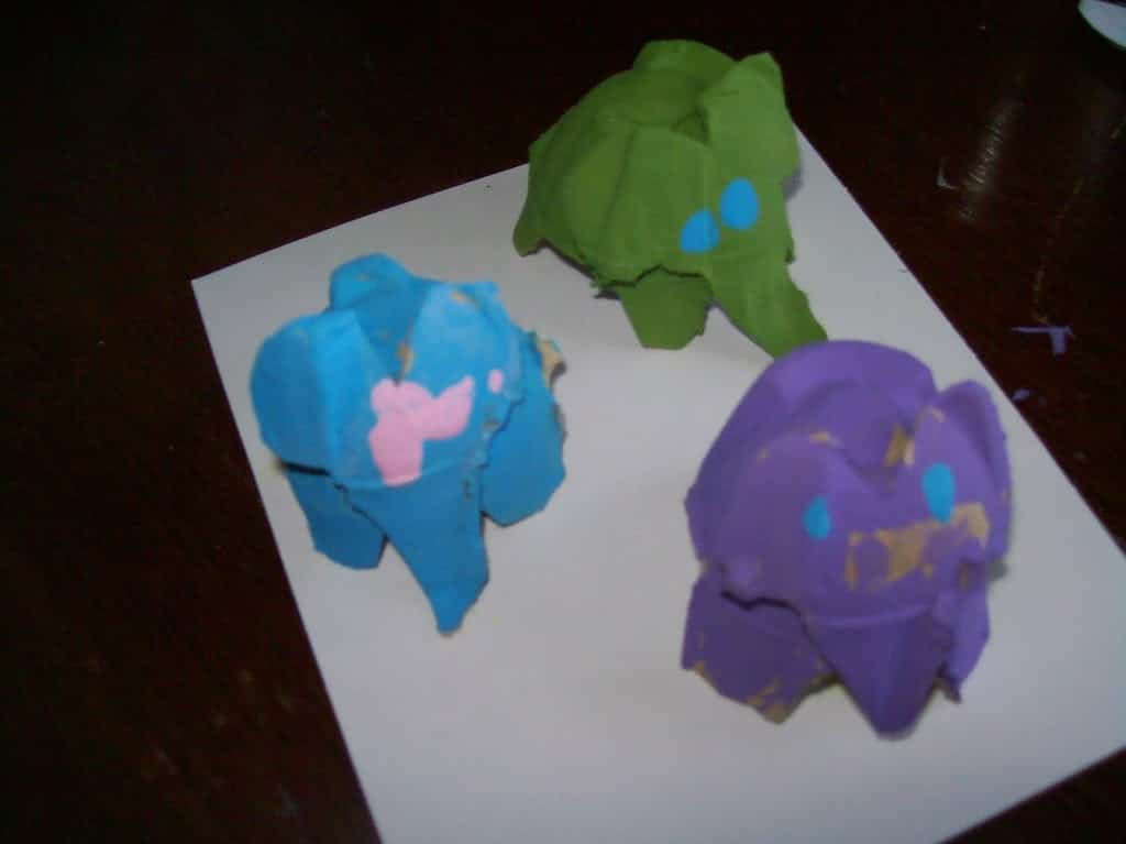 Crafting with Monkey: Egg Crate Elephants