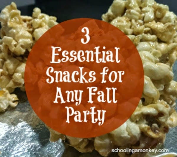 These recipes and snacks are the perfect fall party foods! Learn to make caramel apples, popcorn balls, and delicious hot apple cider!