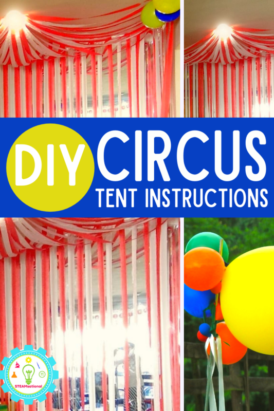 If you are learning how to make a circus tent backdrop, you've come to the right place! This circus tent is made from paper and so easy and inexpensive to make!