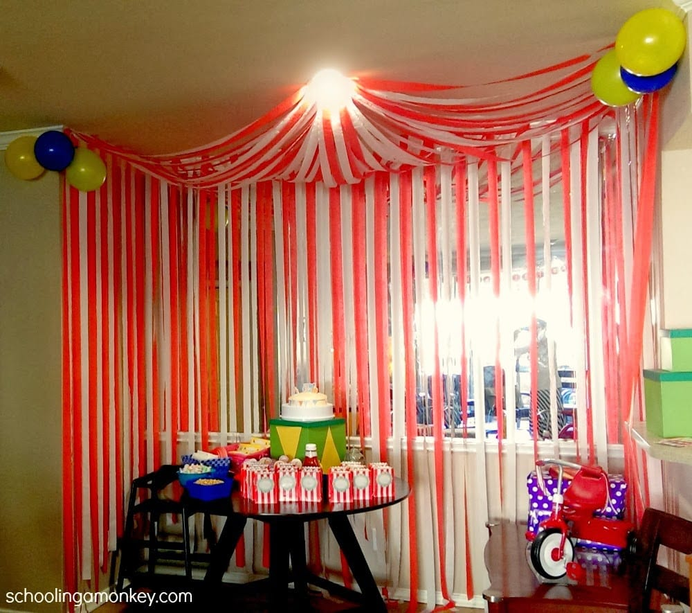 Marvelous Carnival Theme Party Ideas Decorations Part - 12: ... Circus Tent From Streamers ...