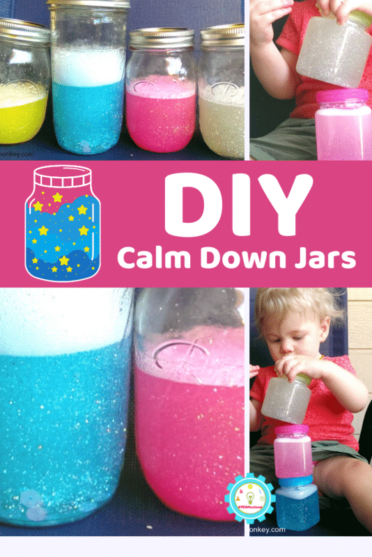 Follow along with these recipes to make 4 different variations on calm down jars that have different fall times.