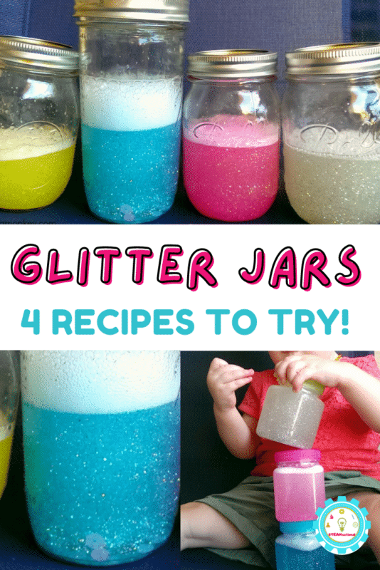 An easy calm down jar tutorial with 4 variations! How to make a glitter jar that falls for 1, 5, or 10 minutes, or 1 hour!