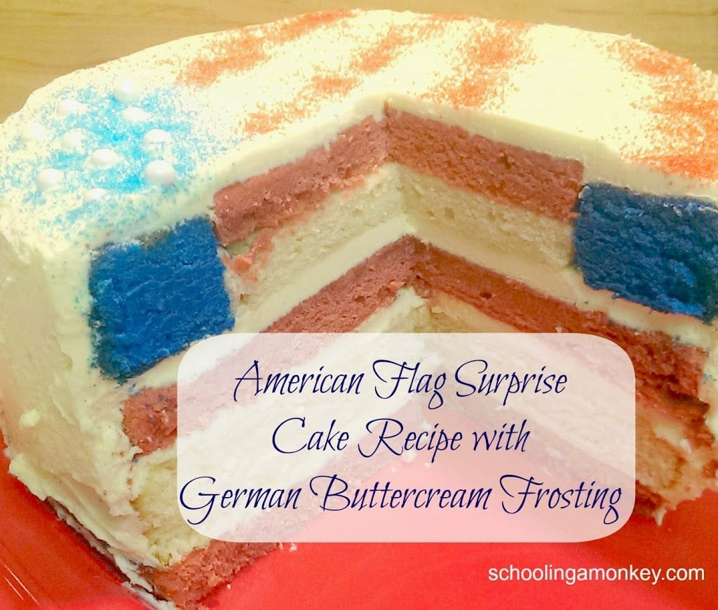 You'll love this American Flag surprise cake recipe using German buttercream frosting! It looks stunning, but is a surprisingly easy patriotic cake recipe.