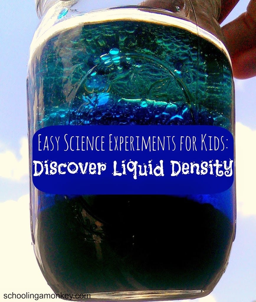 Liquid density jar science experiment for kids. #science #stem #stemed #scienceexperiment #scienceforkids