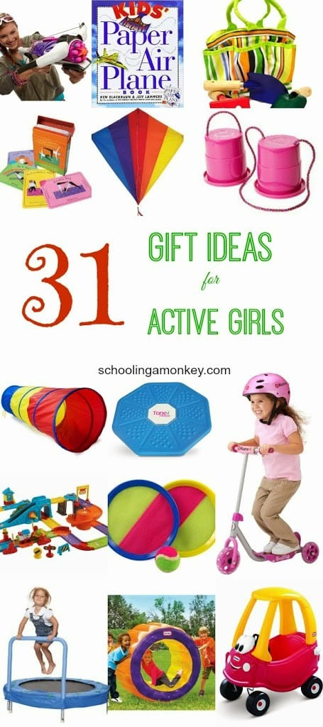 Here is a list of gift ideas for active girls that will satisfy even the wiggliest of girls (I know because I have them).