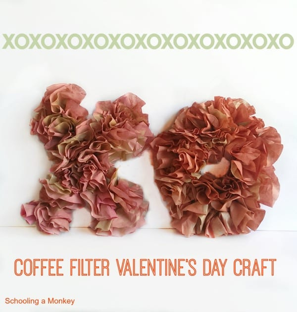 Valentine's Day kid crafts don't have to be silly! This coffee filter valentine decoration craft is simple enough for kids but looks good enough to display!