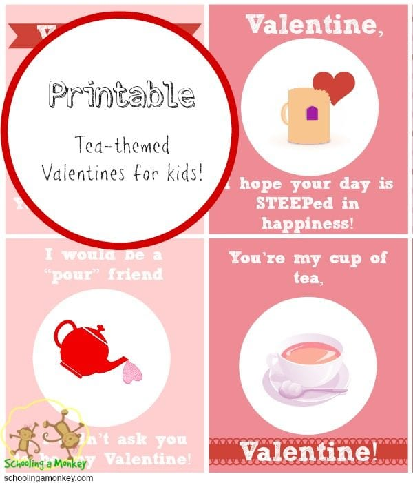 free printable valentines for kids tea