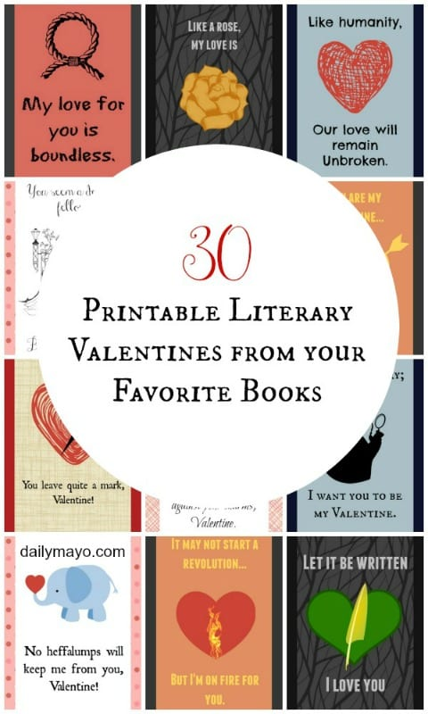printable literary valentines