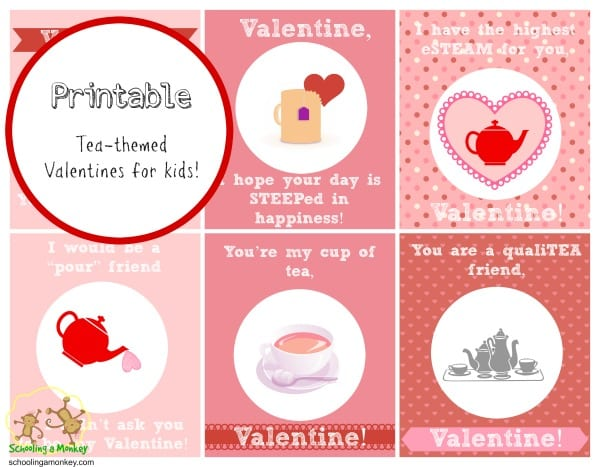 printable valentines for kids tea