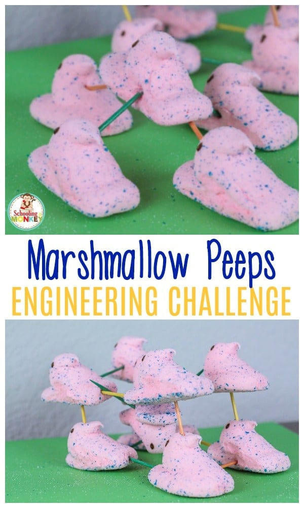 Peeps are super fun to get at Easter. But if you have some leftover, try these Peeps marshmallow engineering activities! The marshmallow activities and marshmallow STEM challenge will delight your kids. Peeps STEM activities are the best! #easteractivities #peeps #stemactivities #engineering