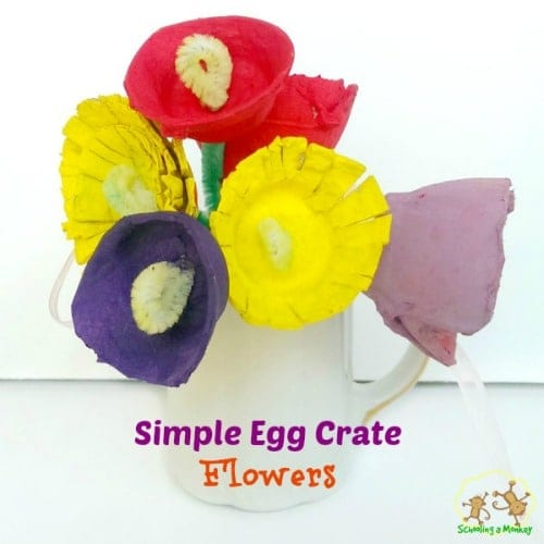 Spring Flower Craft: Egg Crate Flowers