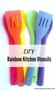 Rainbow DIY Projects: Rainbow Kitchen Utensils