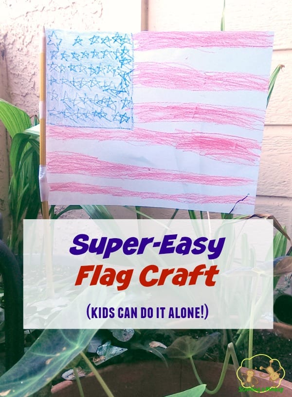 Looking for a quick and easy flag craft to celebrate summer days and America? This super-easy American flag craft is kid-created and super-fun!