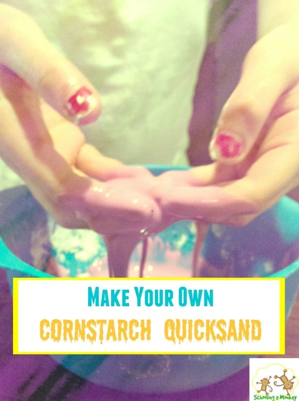 Need a quick science experiment? Cornstarch quicksand is easy to make and teaches an interesting science lesson in non-Newtonian fluids at the same time. Science experiments with cornstarch are tons of fun, and this conrstarch science project is suitable for kids of all ages! #science #stem #stemed #scienceexperiments #kidsactivities #handsonlearning
