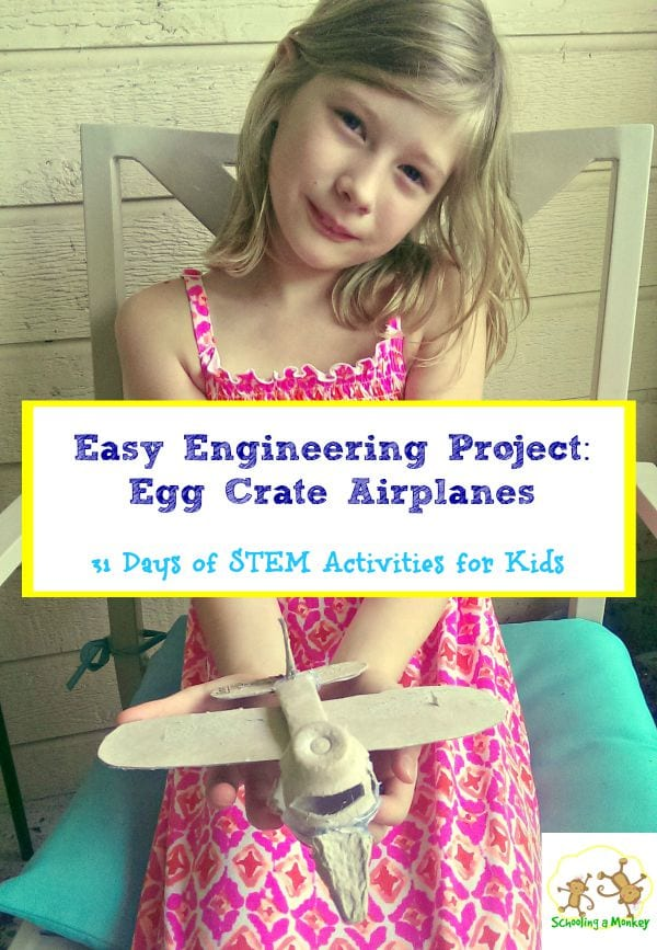 Want to try engineering with your kids? This egg crate airplane engineering project is easy and fun! Part of the 31 days of STEM activities for kids series.