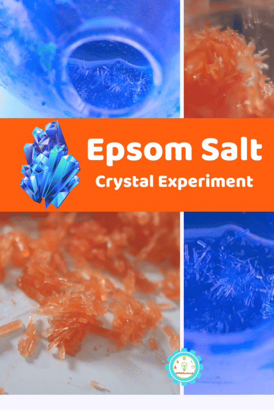 How to make really big Epsom salt crystals! Just 2 ingredients! This super easy and fast crystal science experiment is always a crowd-pleaser!