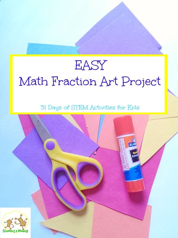 Kids bored by math and confused by fractions? Make math fun with this simple math fraction art project! Part of 31 days of STEM activities for kids.