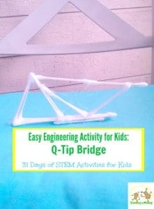 This fun engineering activity shows kids how to make a Q-tip bridge that will actually stand. Part of the 31 days of STEM activities for kids series.