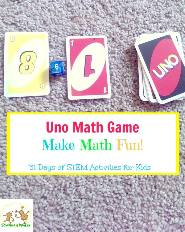 31 Days of STEM Activities for Kids: Uno Math Game