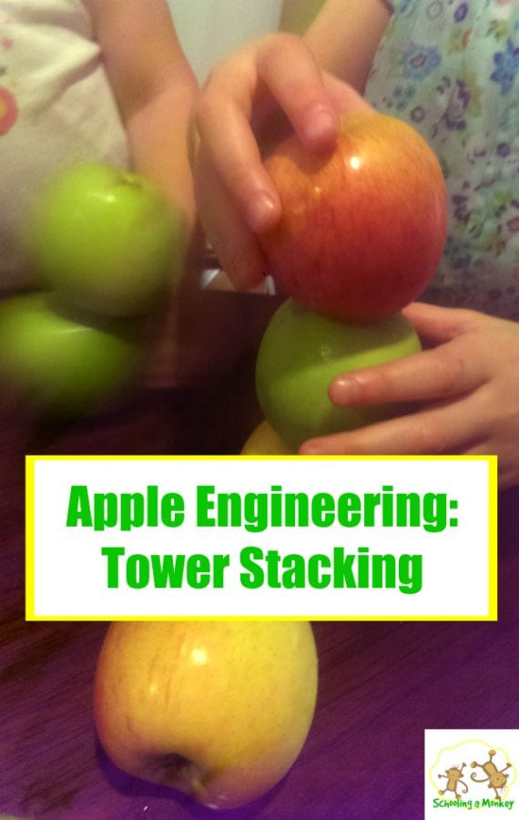 There are so many fun apple activities for kids. This one provides a fun engineering challenge when children try to stack apples on top of each other.
