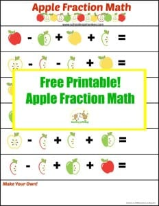 Apple Activities for Kids: Apple Fraction Math Printable