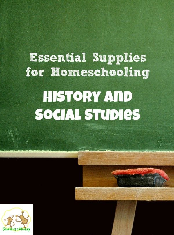 Wonder what you need to have to homeschool? This supply list has everything you need for essential supplies for homeschooling history and social studies.