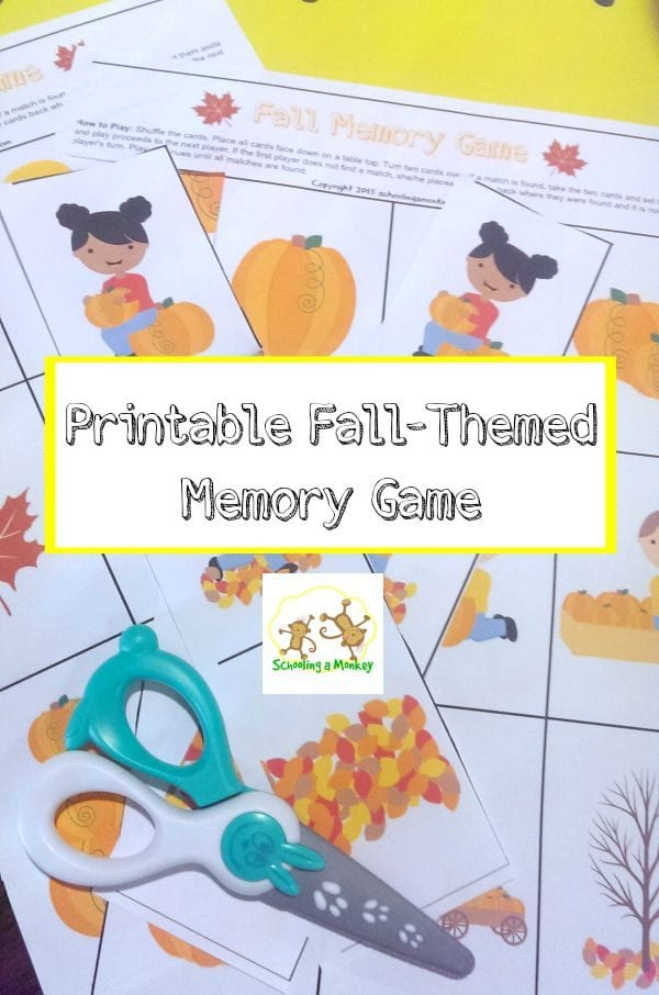 Love fall? Have some kids? They will love this fun fall-themed printable for kids featuring a simple memory game that kids of all ages will love!