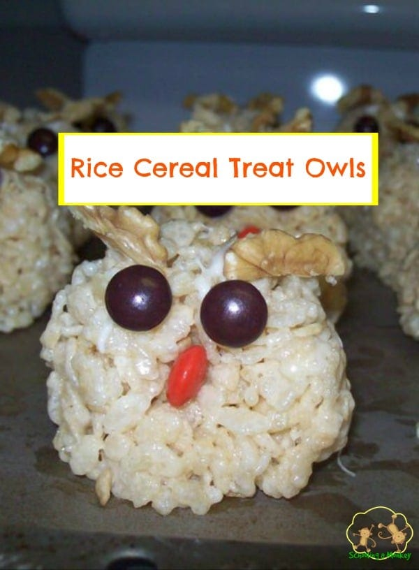 Looking for an easy way to make your food cuter? This recipe for cereal treat owls is easy enough for preschoolers and they are delicious, too!