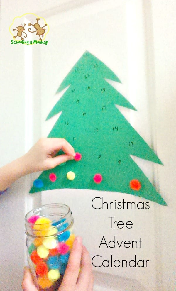 Advent Calendar Art Lesson : Pom christmas tree advent calendar
