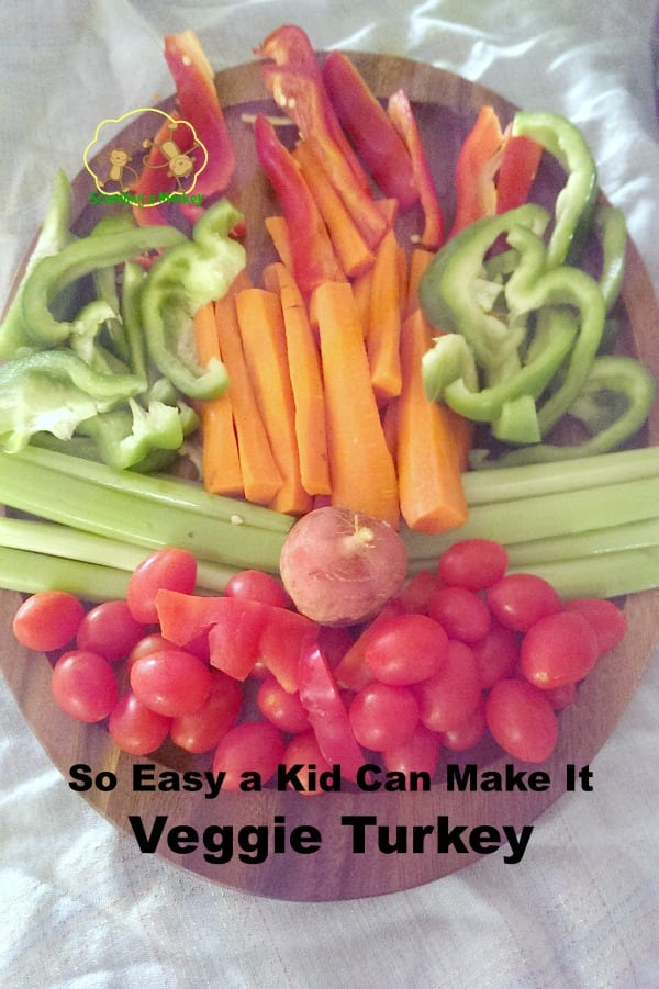 Want your kids to eat less sweets and more veggies this Thanksgiving? Let them make their own veggie turkey! Kids of all ages will love putting it together.
