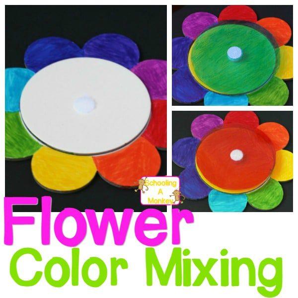 Color Mixing Art Flower Activity for Preschool Artists
