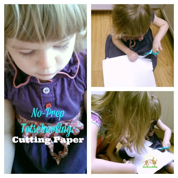 If you have trouble finding easy toddler activities for your little ones while bigger kids are in school, then you will love this paper cutting activity!