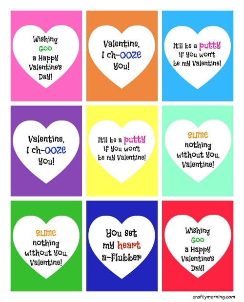 Slime Valentines for Kids (+ Free Printable) - Crafty Morning