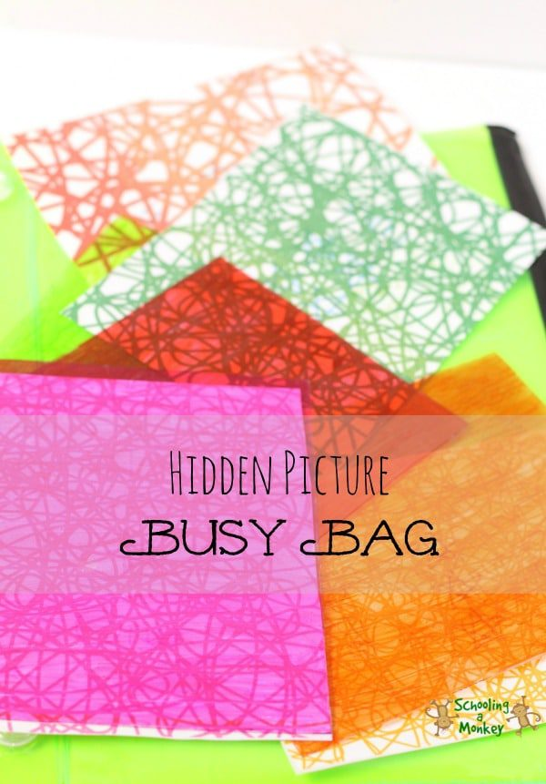 Learn about colors and light filtering with this simple and fun hidden picture busy bag perfect for toddlers and preschoolers.