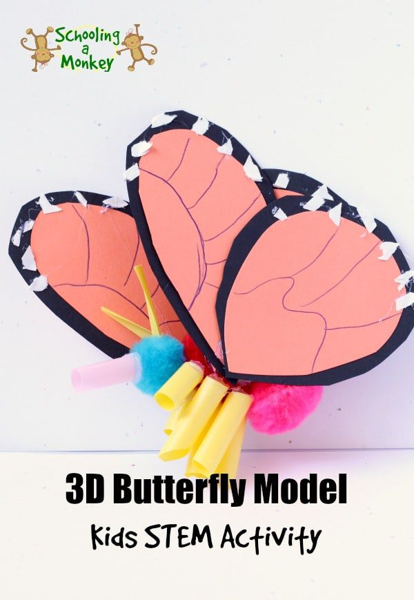 Love Monarch butterflies? You won't want to miss this fun STEM-focused lesson on Monarch butterflies and creating a 3D butterfly model of a Monarch butterfly. Learn how to make a 3D butterfly model and have fun with this educational monarch butterfly craft for kids. #scienceexperiment #stemactivity #thematicunit #springactivities