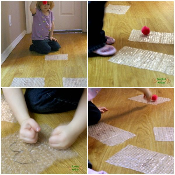 Looking for bubble wrap activities for preschool? This fun bubble wrap number hopscotch game is a fun way to introduce numbers using gross motor function.