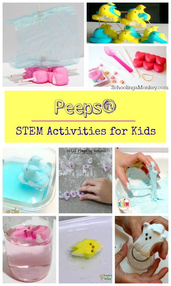 Love Peeps? Love STEM activities? Then you won't want to miss this complete list of PEEPS STEM activities for kids! So many Peeps projects and Peeps activities to try. STEM activities with Peeps are tons of fun! Use these ideas to complete your Peeps STEM challenges! #easteractivities #stemactivities #stemed #peeps