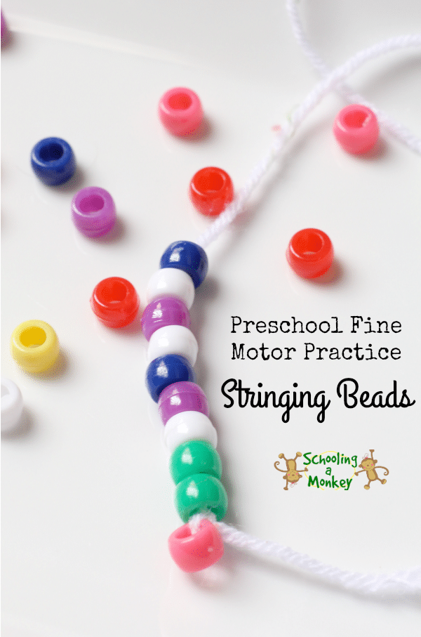 Use this super simple bead stringing activity for an easy fine motor practice activity in your preschool or totschool!