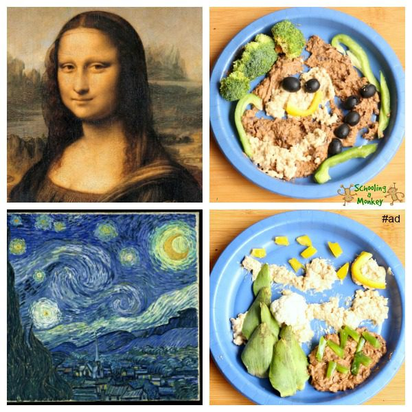 Intimidated by the fancy kid food art out there? Never fear! Anyone can do these simple kid food art ideas using Bush's Hummus Made Easy! #ad