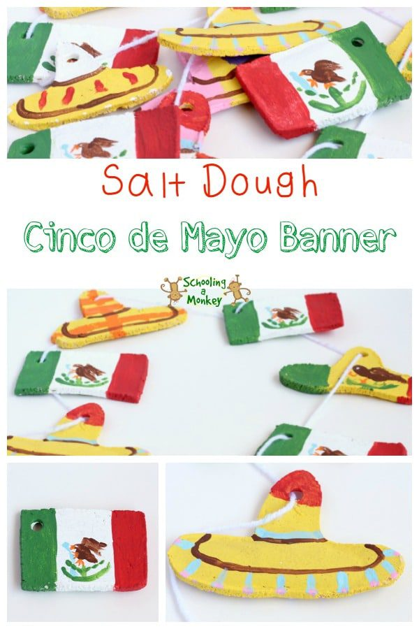 Add a crafty side to your Cinco de Mayo unit study with this fun Cinco de Mayo banner made from salt dough! Plus tons of educational Cinco de Mayo ideas!