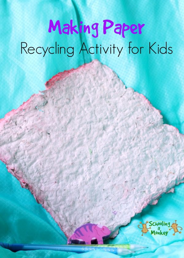 In this activity on how to make recycled paper at home, you will learn all about how paper is recycled and other fun ways to teach recycling. Making paper with kids is perfect recycling project for kids for Earth Day! #recycling #earthday #earthdayactivities #kidsactivities