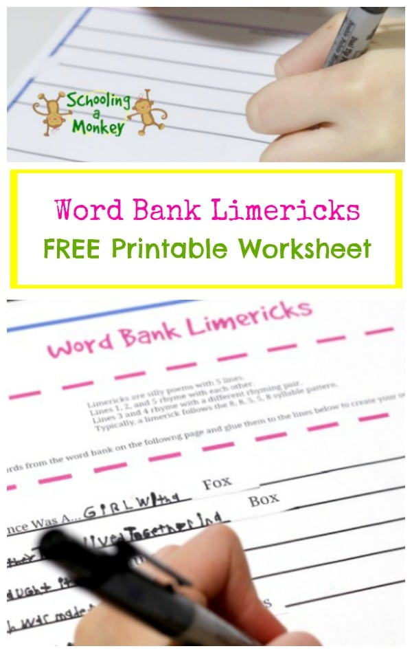 Want a fun activity to celebrate National Poetry Month? Try this free printable worksheet that helps create silly limericks for kids!