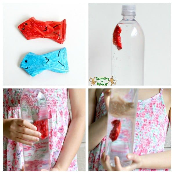 Collage of how to make a cartesian diver: Top left: ketchup packets turned into fish. Top right: Red fish inside plastic bottle of water. Bottom left: Hands squeezing bottle to lower fish. Bottom right: Pressure released to allow fish to rise to the top.