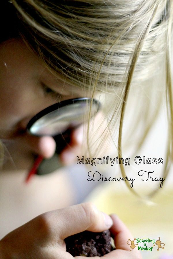 It only takes a few household supplies to set up this magnifying glass discovery activity for preschoolers! The perfect no-prep STEM activity for preschool!