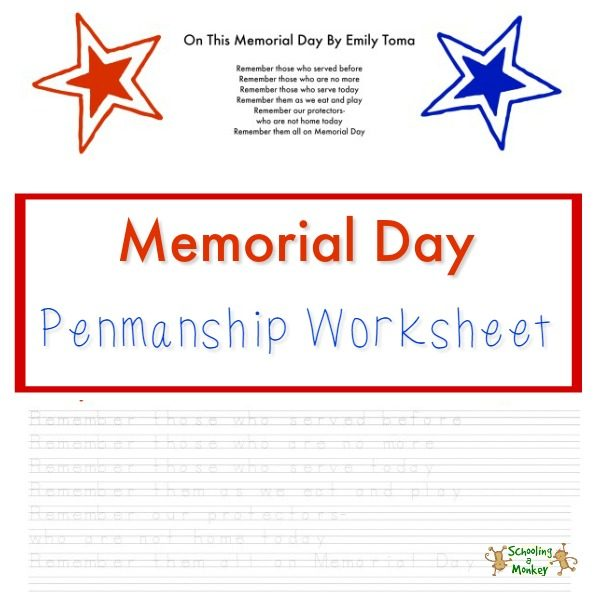 This Memorial Day Penmanship Worksheet is a free printable you can use as a penmanship and handwriting tool with a seasonal theme.