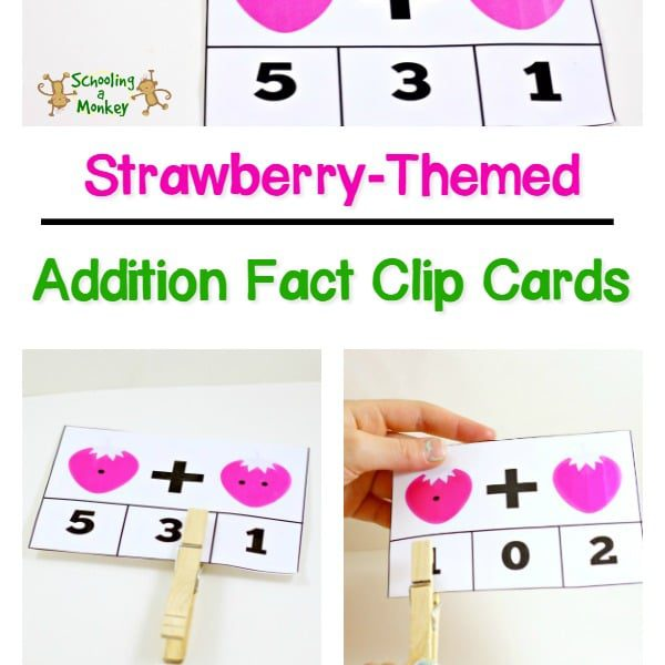 Love strawberries? Then you won't want to miss these strawberry-themed addition fact clip cards for preschoolers, kindergarten, and first grade!