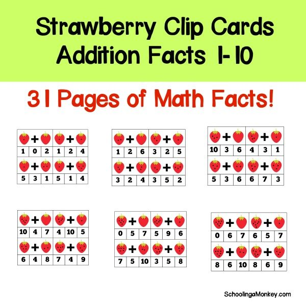 The strawberry addition fact clip cards teach kindergartners and first graders their basic addition facts in a fun and hands-on way.
