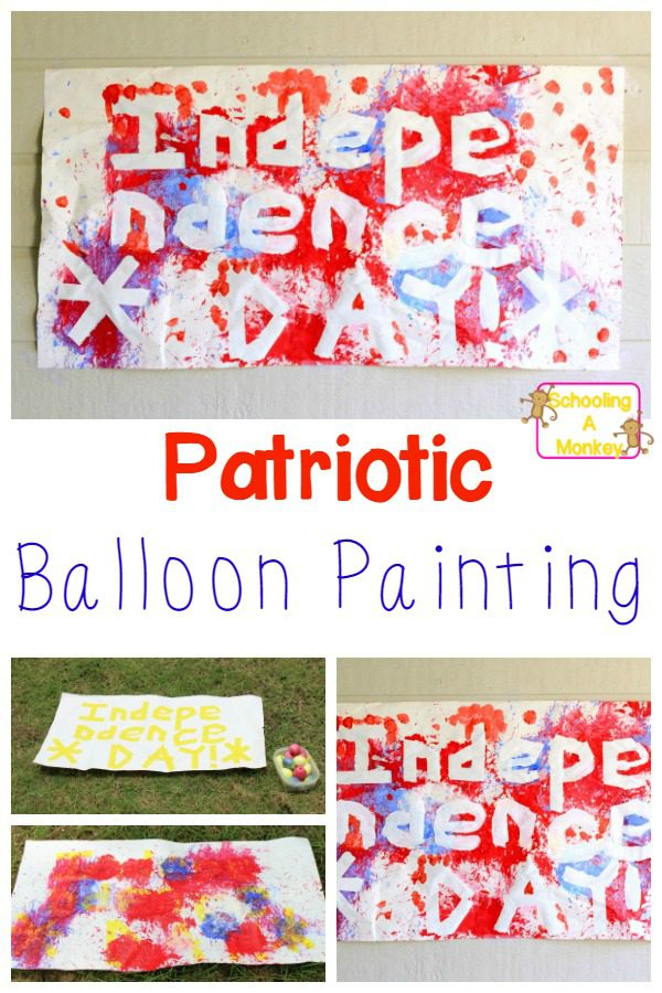 If you have wanted to create a balloon dart painting as one of your crafts for kids, try this fun twist on a classic with this patriotic balloon painting!