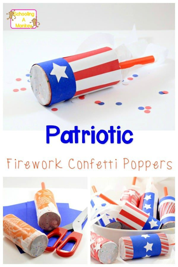 If you love fireworks but don't like explosions, these confetti fireworks are for you! This easy 4th of July craft is perfect as a patriotic kids craft!
