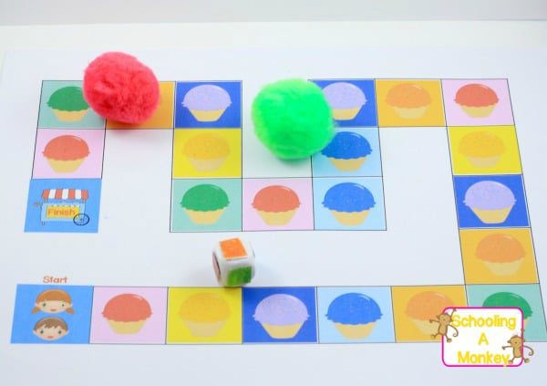 Use this printable game to teach colors to toddlers and preschoolers! The ice cream game teaches color identification in a fun, hands-on way.